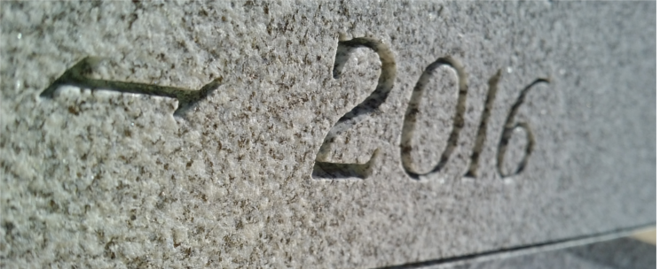 engraving of year on monument