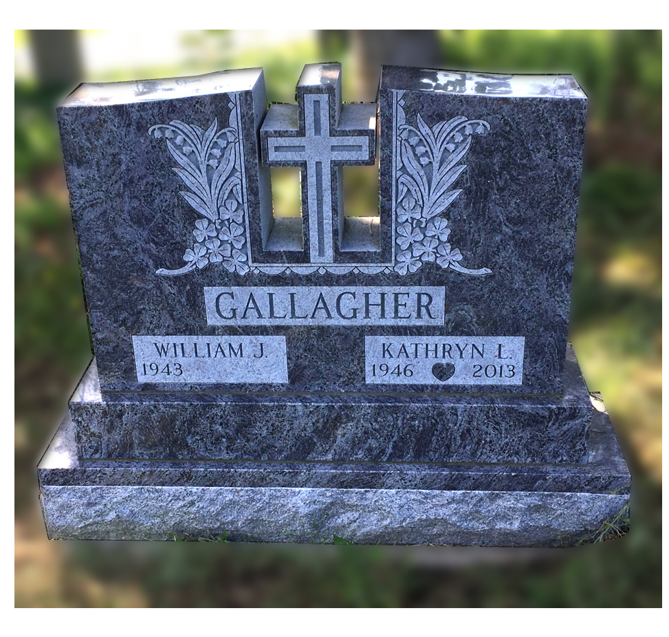 memorial for gallagher with cross cut out