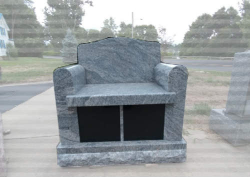 cremation bench with back