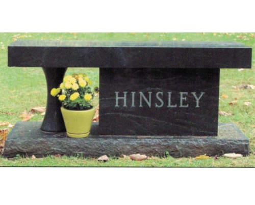 Black granite bench with pedestal leg